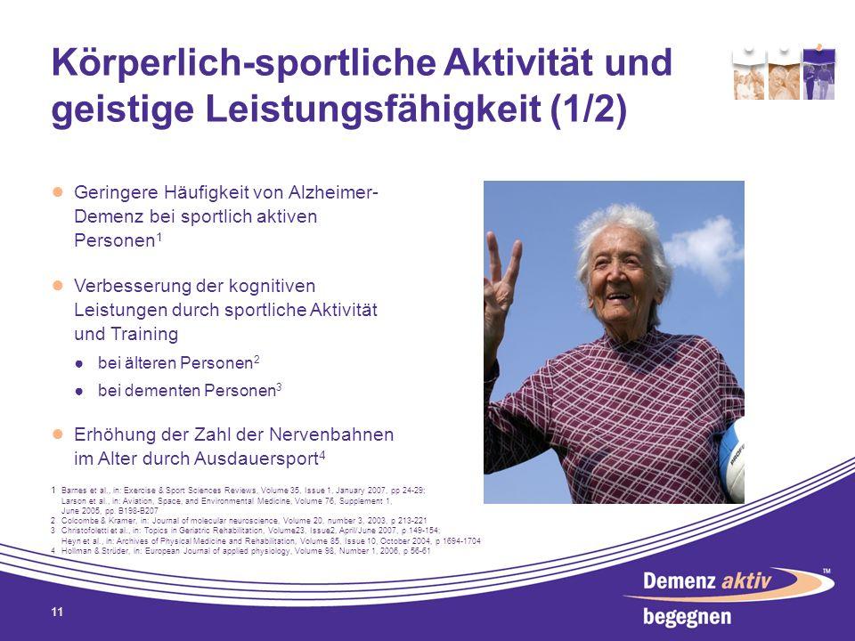Körperlich-sportliche Aktivität und geistige Leistungsfähigkeit (1/2) Geringere Häufigkeit von Alzheimer- Demenz bei sportlich aktiven Personen 1 Verb