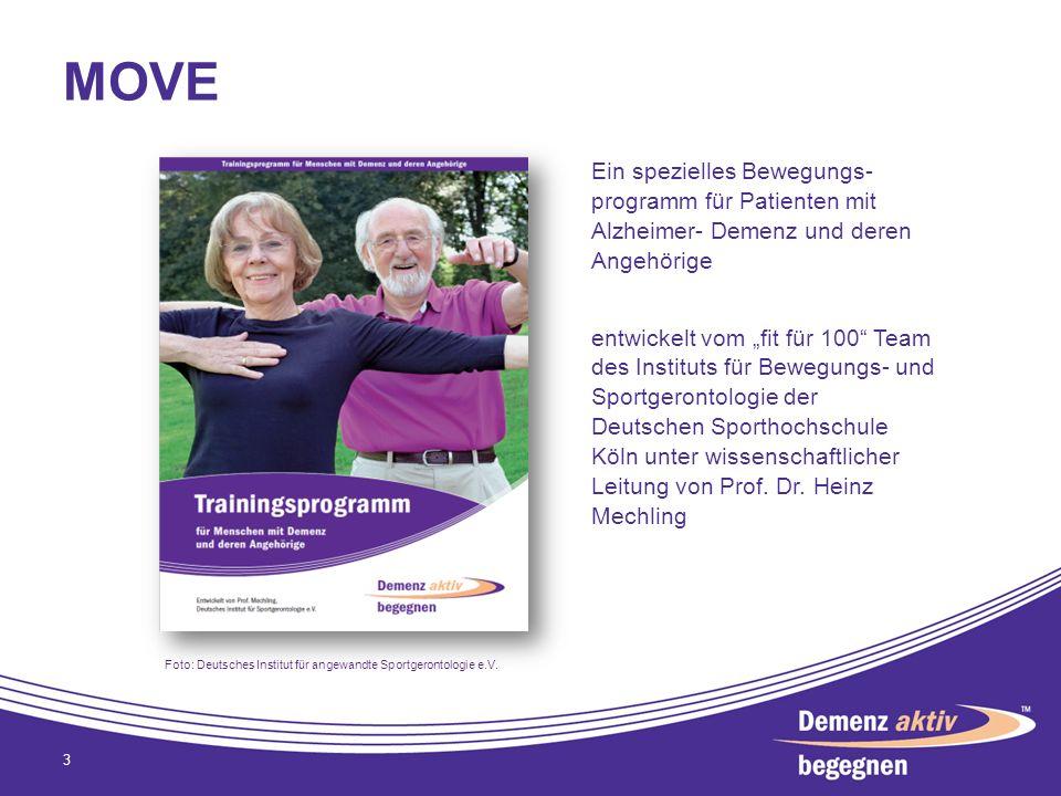 3 Ein spezielles Bewegungs- programm für Patienten mit Alzheimer- Demenz und deren Angehörige entwickelt vom fit für 100 Team des Instituts für Bewegu