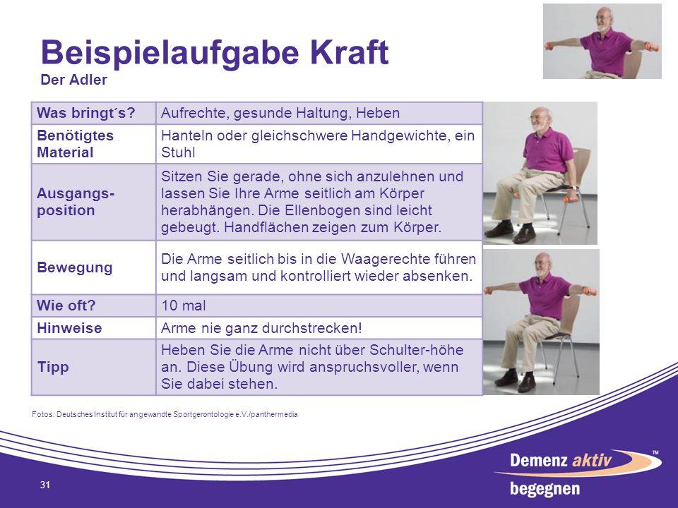 Beispielaufgabe Kraft 31 Was bringt´s?Aufrechte, gesunde Haltung, Heben Benötigtes Material Hanteln oder gleichschwere Handgewichte, ein Stuhl Ausgang