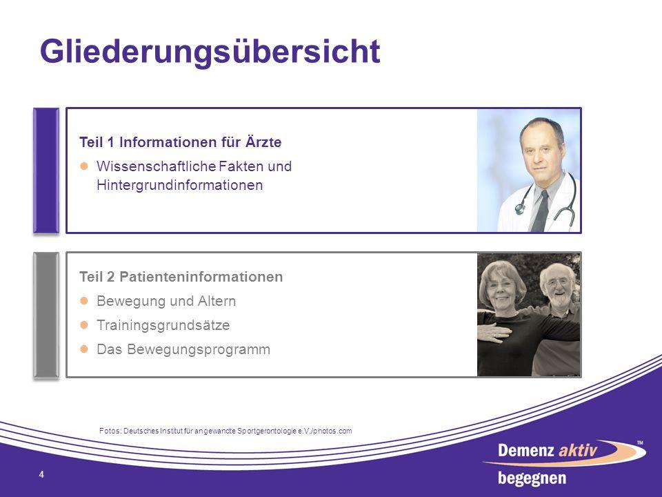 Gliederungsübersicht 4 Teil 1 Informationen für Ärzte Wissenschaftliche Fakten und Hintergrundinformationen Teil 2 Patienteninformationen Bewegung und