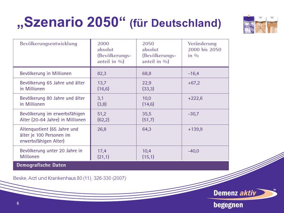 Prognose der Demenzfälle in Deutschland bis zum Jahr 2050 7 S 1 bei konstanter Lebenserwartung und Prävalenz S 2.1 Basisannahme Lebenserwartung entsprechend 11.