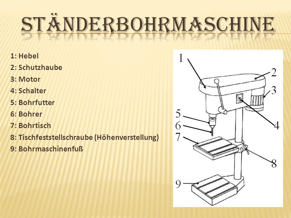 1: Hebel 2: Schutzhaube 3: Motor 4: Schalter 5: Bohrfutter 6: Bohrer 7: Bohrtisch 8: Tischfeststellschraube (Höhenverstellung) 9: Bohrmaschinenfuß