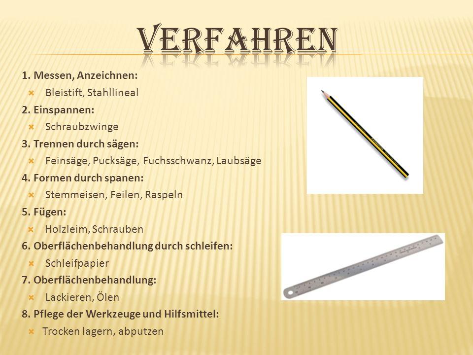 1. Messen, Anzeichnen: Bleistift, Stahllineal 2. Einspannen: Schraubzwinge 3. Trennen durch sägen: Feinsäge, Pucksäge, Fuchsschwanz, Laubsäge 4. Forme