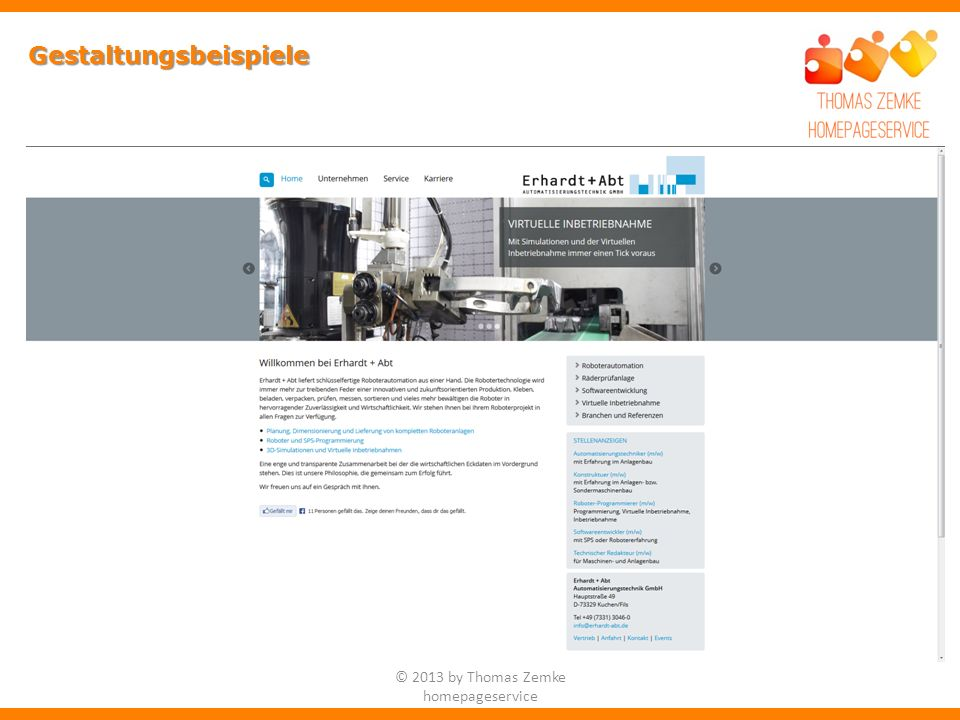 Gestaltungsbeispiele © 2013 by Thomas Zemke homepageservice