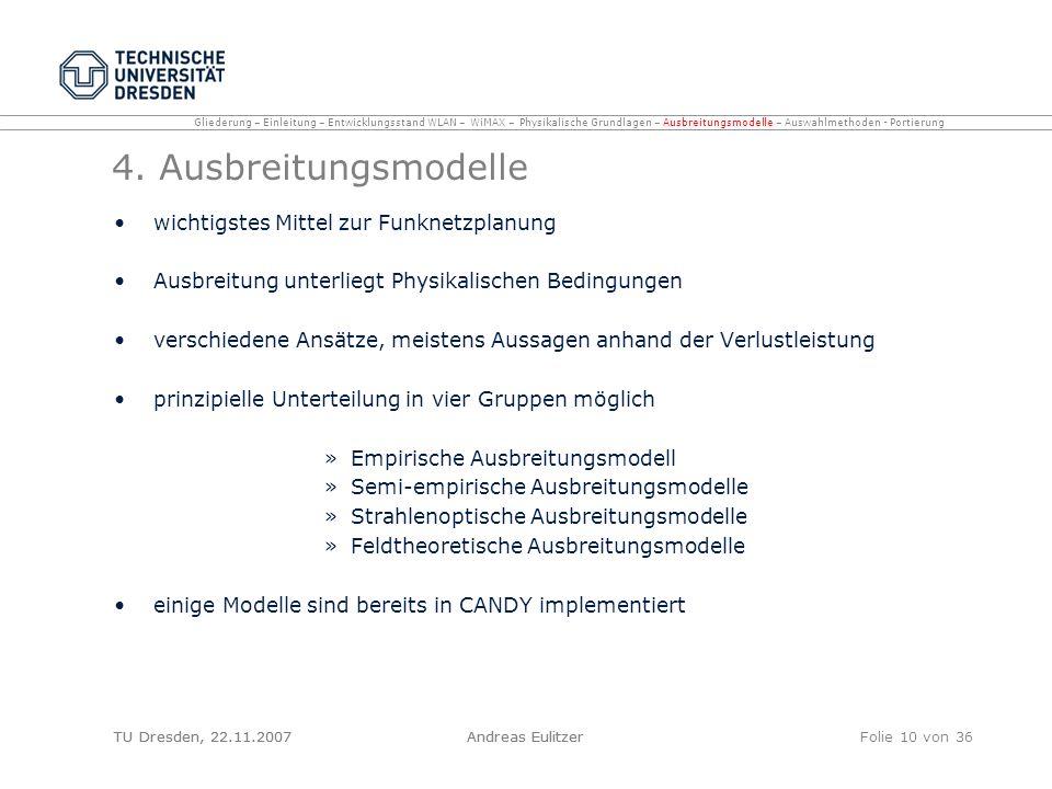 TU Dresden, 22.11.2007Andreas EulitzerFolie 10 von 36 4. Ausbreitungsmodelle wichtigstes Mittel zur Funknetzplanung Ausbreitung unterliegt Physikalisc