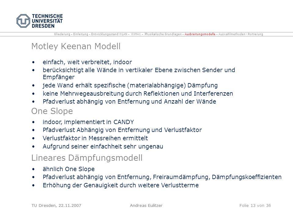TU Dresden, 22.11.2007Andreas EulitzerFolie 13 von 36 Motley Keenan Modell einfach, weit verbreitet, indoor berücksichtigt alle Wände in vertikaler Eb
