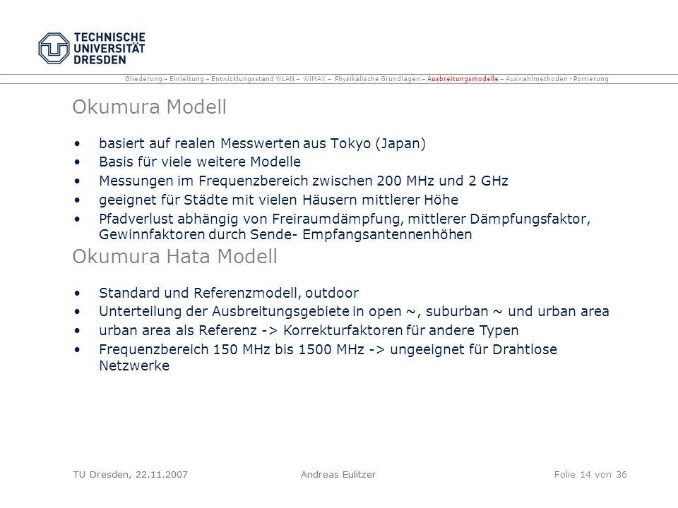 TU Dresden, 22.11.2007Andreas EulitzerFolie 14 von 36 Okumura Modell basiert auf realen Messwerten aus Tokyo (Japan) Basis für viele weitere Modelle M