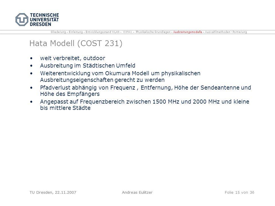 TU Dresden, 22.11.2007Andreas EulitzerFolie 15 von 36 Hata Modell (COST 231) weit verbreitet, outdoor Ausbreitung im Städtischen Umfeld Weiterentwickl