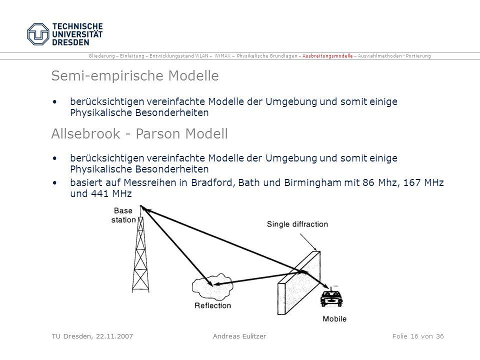 TU Dresden, 22.11.2007Andreas EulitzerFolie 16 von 36 Semi-empirische Modelle berücksichtigen vereinfachte Modelle der Umgebung und somit einige Physi