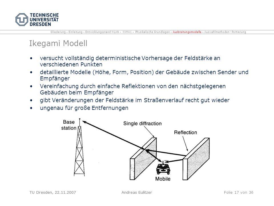 TU Dresden, 22.11.2007Andreas EulitzerFolie 17 von 36 Ikegami Modell versucht vollständig deterministische Vorhersage der Feldstärke an verschiedenen