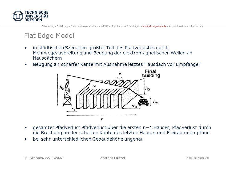 TU Dresden, 22.11.2007Andreas EulitzerFolie 18 von 36 Flat Edge Modell in städtischen Szenarien größter Teil des Pfadverlustes durch Mehrwegeausbreitu