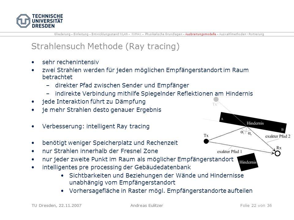 TU Dresden, 22.11.2007Andreas EulitzerFolie 22 von 36 Strahlensuch Methode (Ray tracing) sehr rechenintensiv zwei Strahlen werden für jeden möglichen