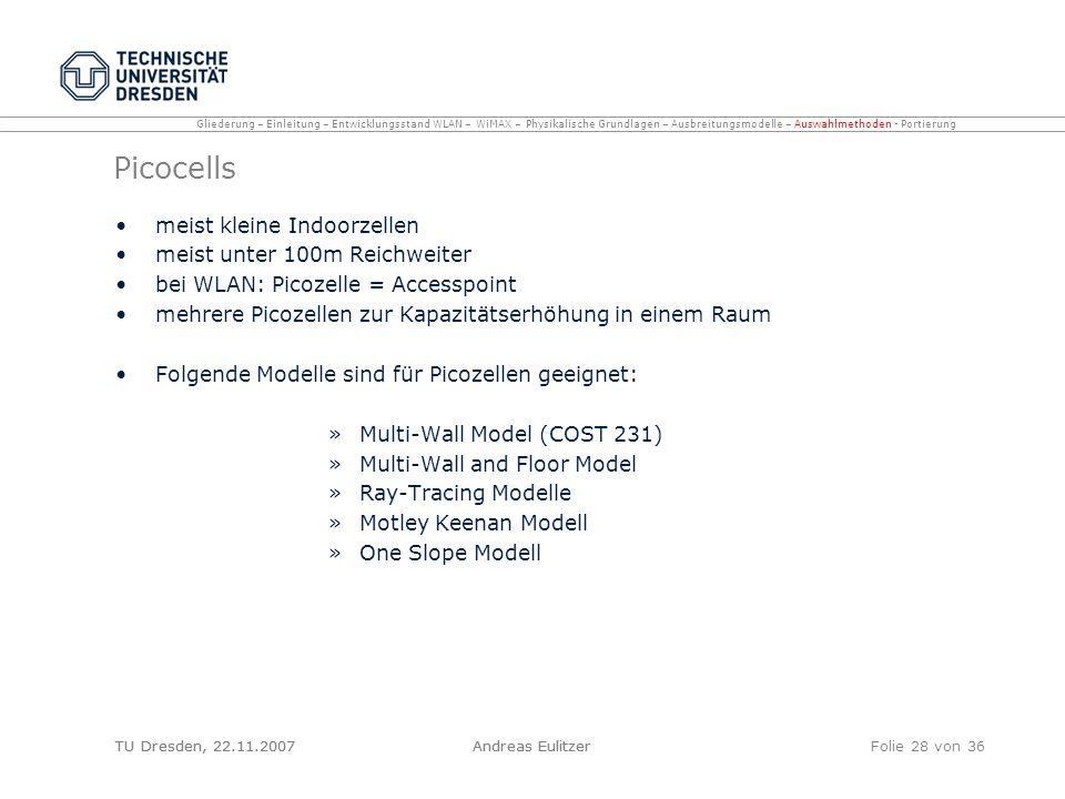 TU Dresden, 22.11.2007Andreas EulitzerFolie 28 von 36 Picocells meist kleine Indoorzellen meist unter 100m Reichweiter bei WLAN: Picozelle = Accesspoi