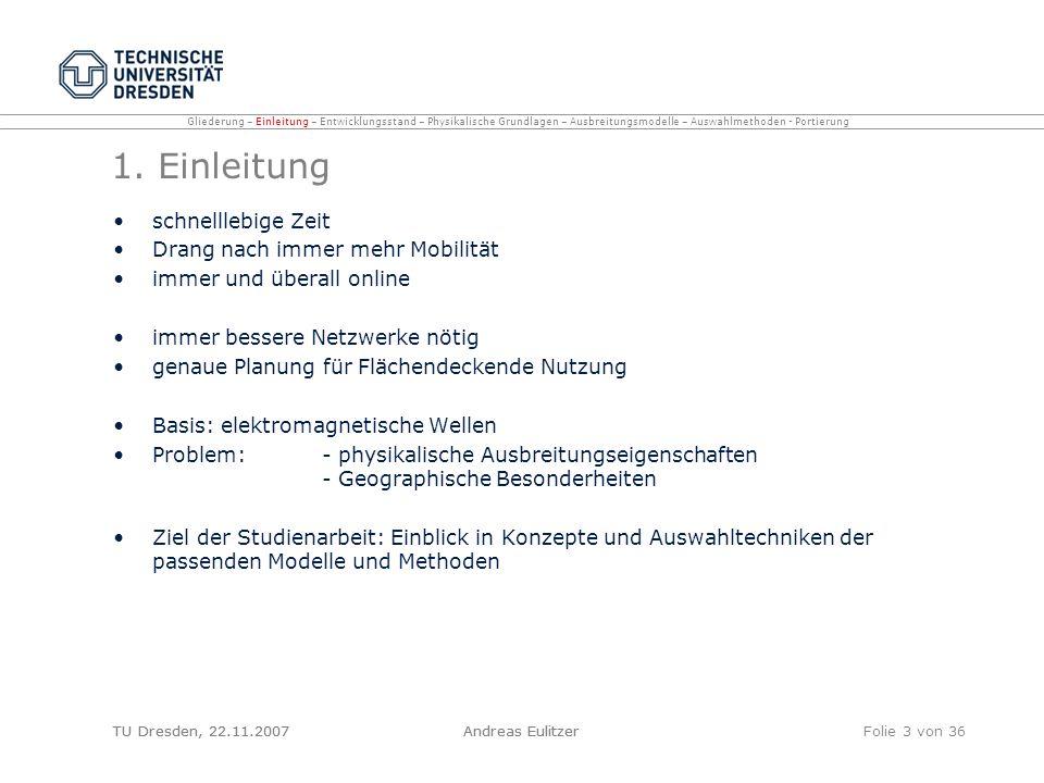 TU Dresden, 22.11.2007Andreas EulitzerFolie 3 von 36 1. Einleitung schnelllebige Zeit Drang nach immer mehr Mobilität immer und überall online immer b