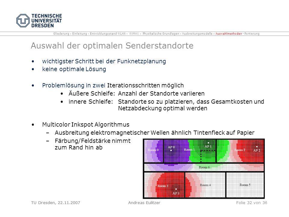 TU Dresden, 22.11.2007Andreas EulitzerFolie 32 von 36 Auswahl der optimalen Senderstandorte wichtigster Schritt bei der Funknetzplanung keine optimale