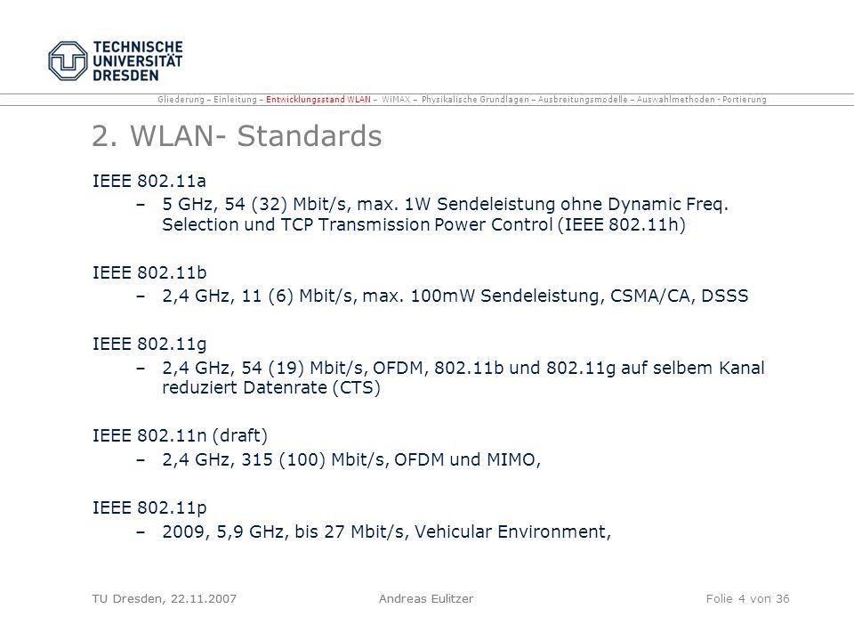 TU Dresden, 22.11.2007Andreas EulitzerFolie 4 von 36 2. WLAN- Standards IEEE 802.11a –5 GHz, 54 (32) Mbit/s, max. 1W Sendeleistung ohne Dynamic Freq.