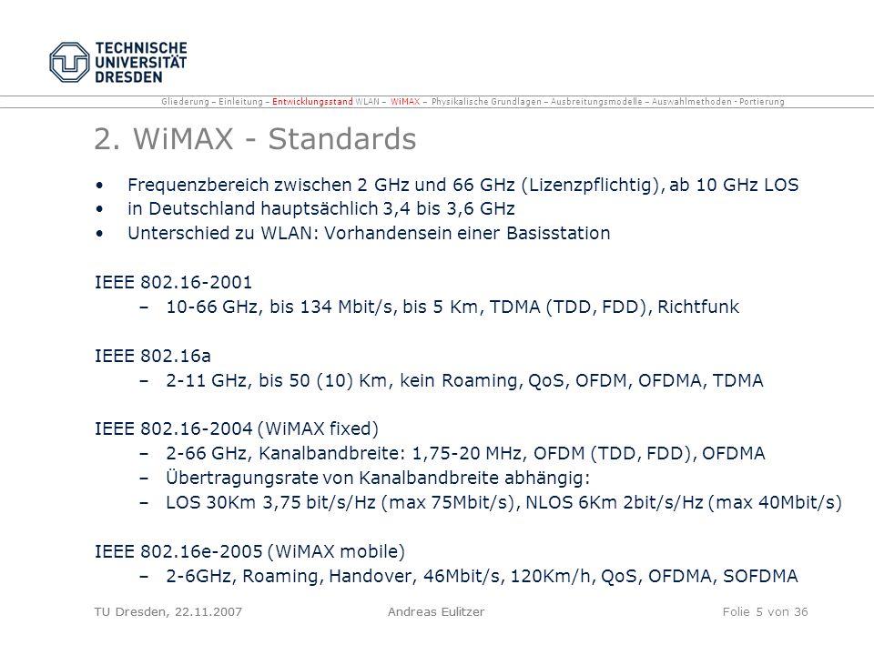 TU Dresden, 22.11.2007Andreas EulitzerFolie 26 von 36 Link Budget betrachtet benötigte Leistung am Empfänger damit ankommendes Signal verarbeitet werden kann Summe aus Übertragungsleistung, Empfängerempfindlichkeit, Antennengewinn, Verluste durch Kabel und Verbinder, Gewinne durch Equipment (Sender / Empfänger) häufigster Fehler bei Berechnungen: Vernachlässigung von Verlusten durch Kabel und Verbinder –hochwertiges Kabel: bei 2, 4 GHz Verlust von 6, 8 dB pro 30m bei 5, 6 Ghz Verlust von 10, 6 dB pro 30 m Berechnung möglichst immer in beide Richtungen Gliederung – Einleitung – Entwicklungsstand WLAN – WiMAX – Physikalische Grundlagen – Ausbreitungsmodelle – Auswahlmethoden - Portierung TU Dresden, 22.11.2007Andreas Eulitzer