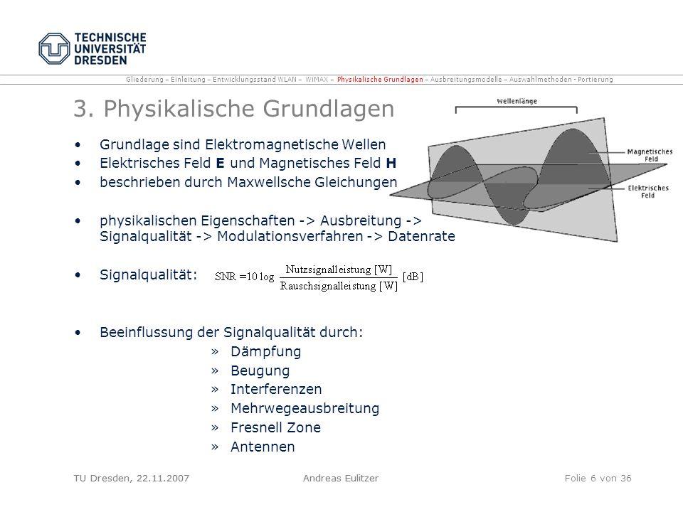 TU Dresden, 22.11.2007Andreas EulitzerFolie 6 von 36 3. Physikalische Grundlagen Grundlage sind Elektromagnetische Wellen Elektrisches Feld E und Magn
