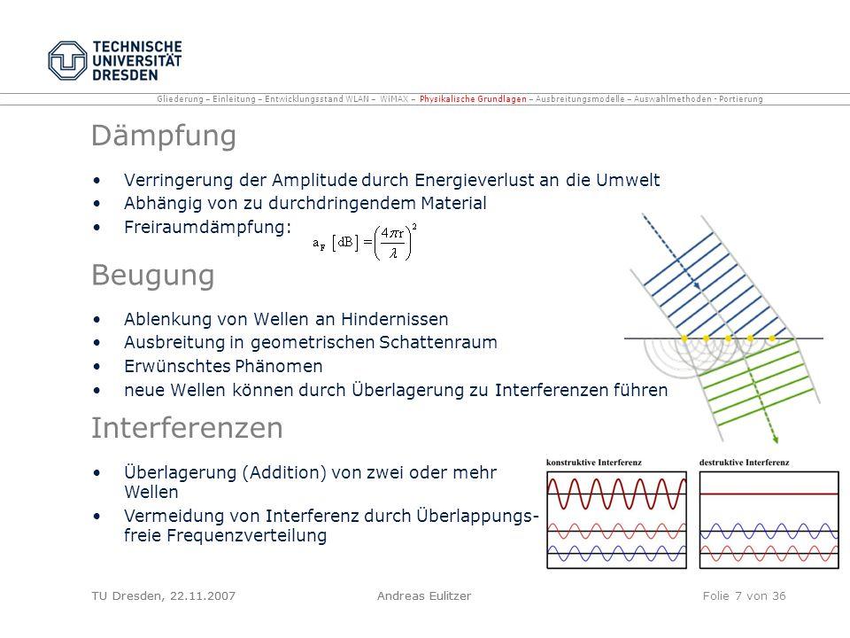TU Dresden, 22.11.2007Andreas EulitzerFolie 7 von 36 Dämpfung Verringerung der Amplitude durch Energieverlust an die Umwelt Abhängig von zu durchdring