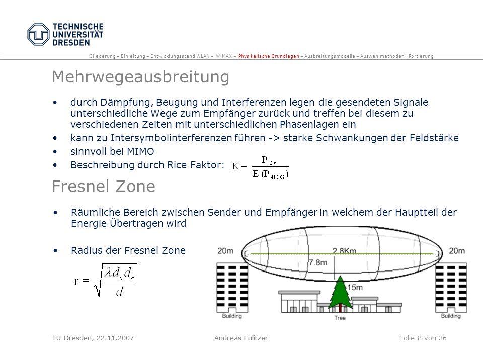 TU Dresden, 22.11.2007Andreas EulitzerFolie 8 von 36 Mehrwegeausbreitung durch Dämpfung, Beugung und Interferenzen legen die gesendeten Signale unters