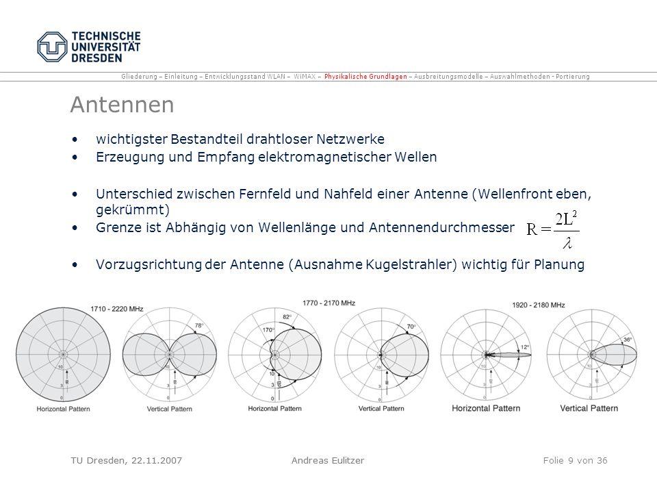 TU Dresden, 22.11.2007Andreas EulitzerFolie 20 von 36 Multi Wall Modell (COST 231) Erweiterung des One Slope Modells im CANDY SF implementiert zusätzlich zur Entfernung und Verlustfaktor die Dämpfung durch Wände in der OLoS Dämpfungen und Verlustfaktoren durch Messungen ermittelt Frequenzabhängig: hohe Frequenz -> hoher Verlust Genauigkeit abhängig von der Anzahl der Wände -> besser: Multi Wall and Floor Modell (MWF) Gliederung – Einleitung – Entwicklungsstand WLAN – WiMAX – Physikalische Grundlagen – Ausbreitungsmodelle – Auswahlmethoden - Portierung Multi Wall and Floor Modell (MWF) relativ junges Modell (2001) Zusammenhang zwischen Gesamtdämpfung und Anzahl der zu durchdringenden Wände nicht linear –Verlust durch die erste Wand gröÿer ist als der zusätzliche Verlust durch jede weitere Wand Parameter des Modells durch Ray Tracing Simulationen und Messungen in Bürogebäuden ermittelt schnell, einfach, auch für große Szenarien da wenig Parameter nötig TU Dresden, 22.11.2007Andreas Eulitzer