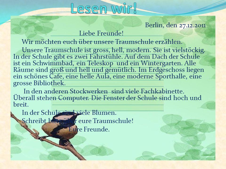 Berlin, den 27.12.2011 Liebe Freunde.Wir möchten euch über unsere Traumschule erzählen.