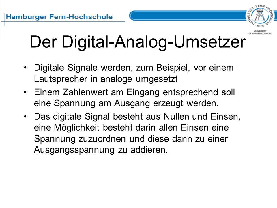 Der Digital-Analog-Umsetzer Digitale Signale werden, zum Beispiel, vor einem Lautsprecher in analoge umgesetzt Einem Zahlenwert am Eingang entsprechen