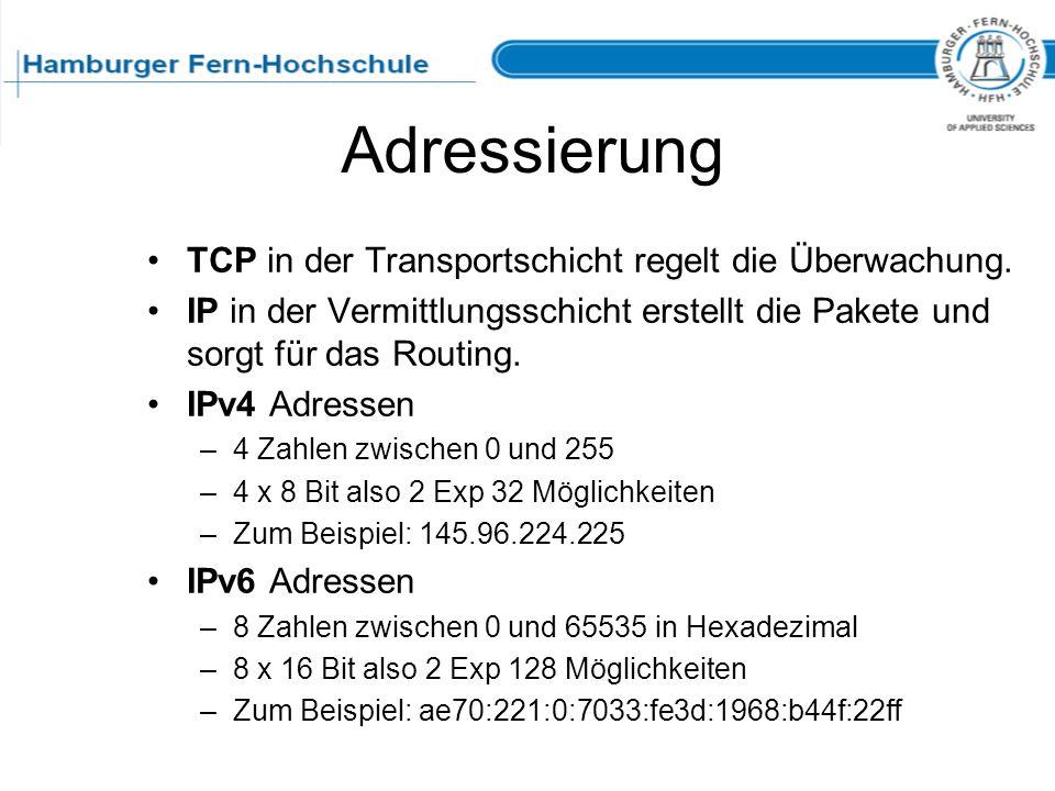 Adressierung TCP in der Transportschicht regelt die Überwachung. IP in der Vermittlungsschicht erstellt die Pakete und sorgt für das Routing. IPv4 Adr