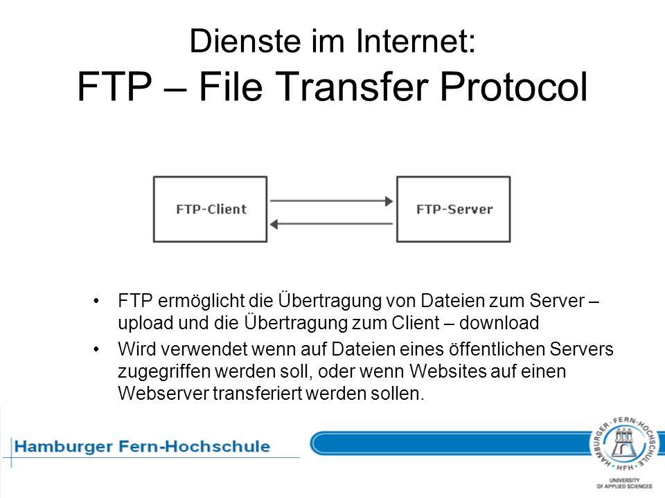 Dienste im Internet: FTP – File Transfer Protocol FTP ermöglicht die Übertragung von Dateien zum Server – upload und die Übertragung zum Client – down