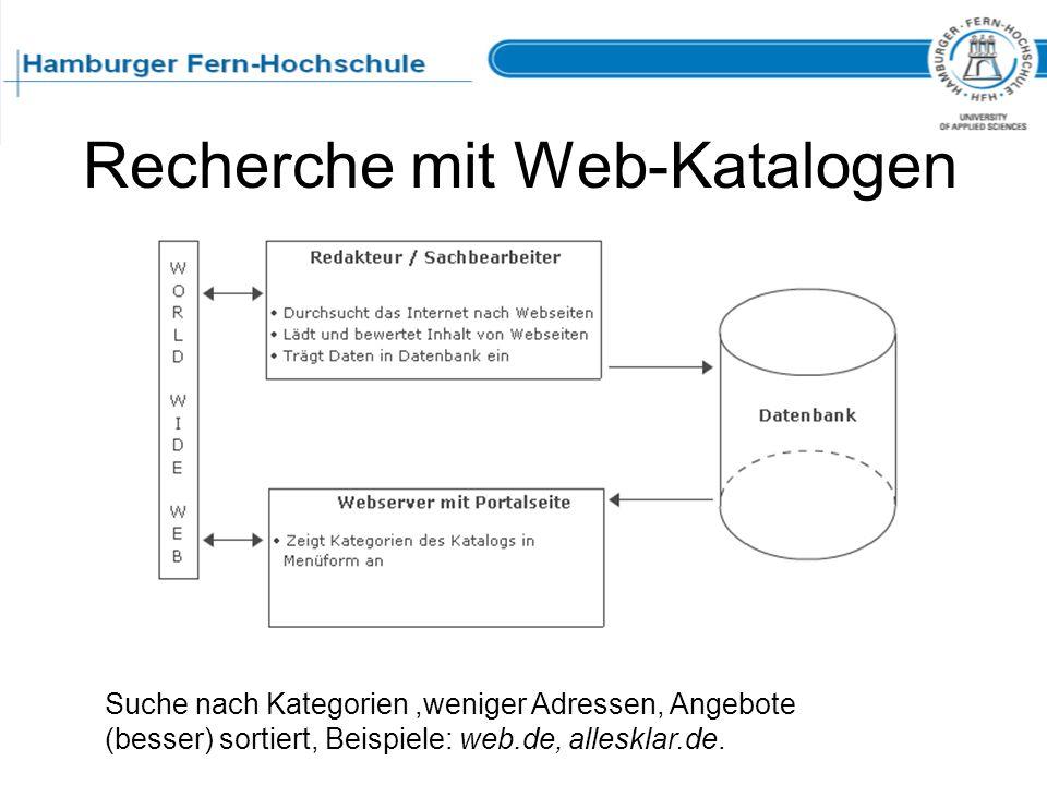 Recherche mit Web-Katalogen Suche nach Kategorien,weniger Adressen, Angebote (besser) sortiert, Beispiele: web.de, allesklar.de.