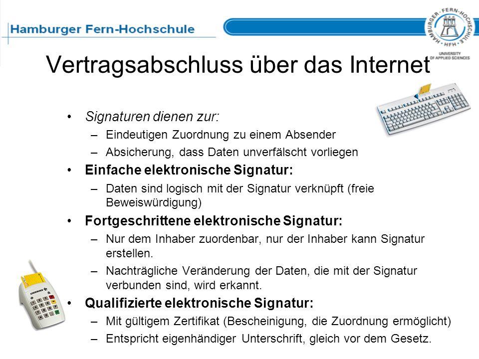 Vertragsabschluss über das Internet Signaturen dienen zur: –Eindeutigen Zuordnung zu einem Absender –Absicherung, dass Daten unverfälscht vorliegen Ei