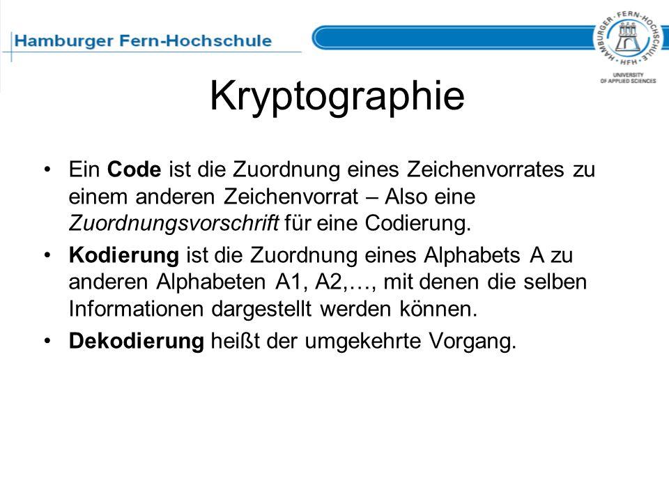 Kryptographie Ein Code ist die Zuordnung eines Zeichenvorrates zu einem anderen Zeichenvorrat – Also eine Zuordnungsvorschrift für eine Codierung. Kod