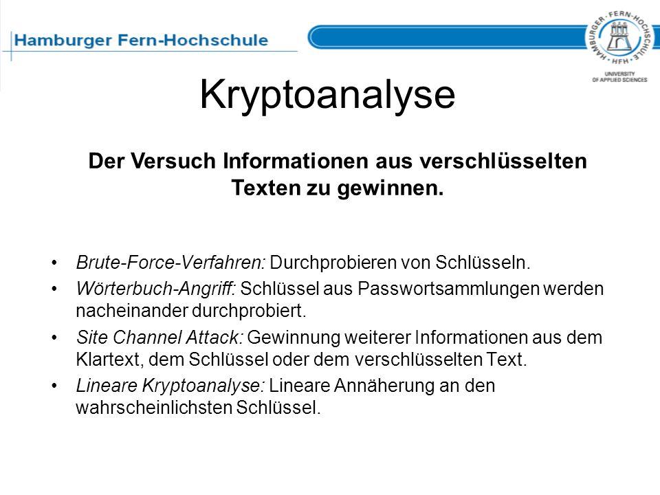 Kryptoanalyse Brute-Force-Verfahren: Durchprobieren von Schlüsseln. Wörterbuch-Angriff: Schlüssel aus Passwortsammlungen werden nacheinander durchprob