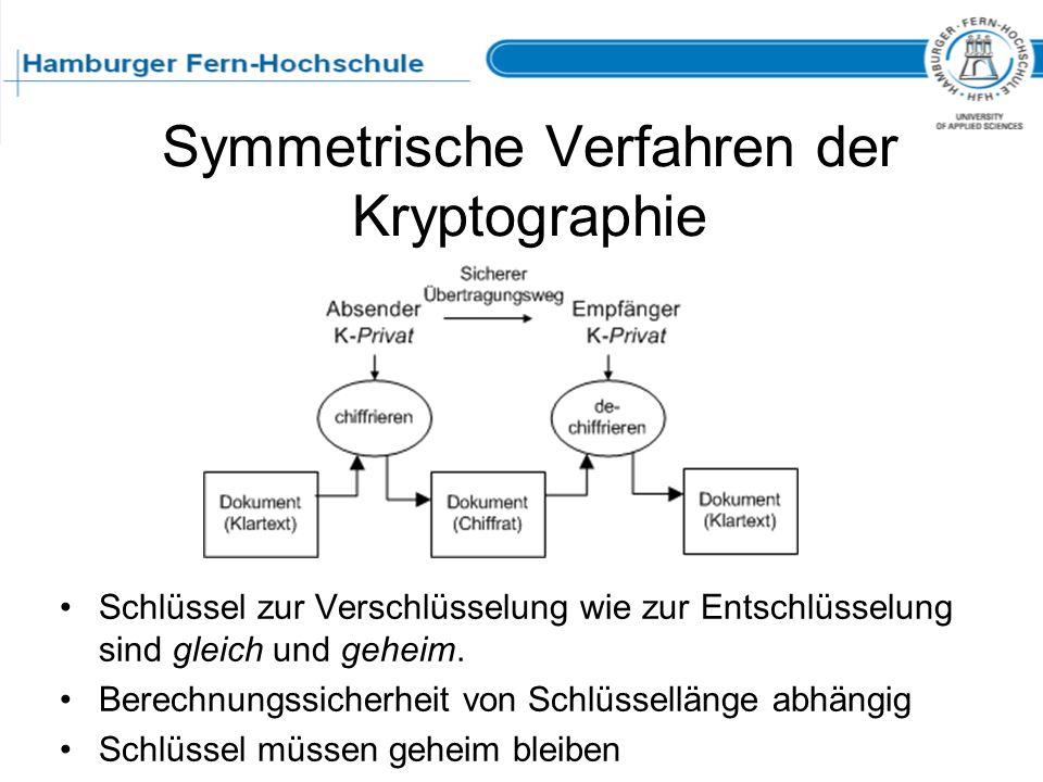 Symmetrische Verfahren der Kryptographie Schlüssel zur Verschlüsselung wie zur Entschlüsselung sind gleich und geheim. Berechnungssicherheit von Schlü