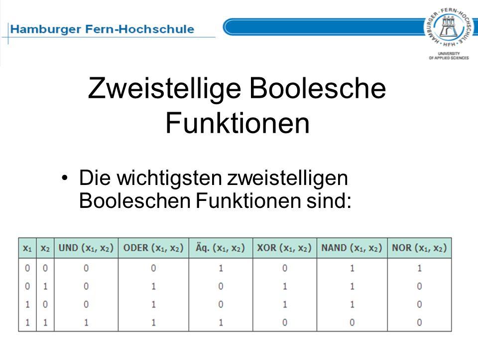 Zweistellige Boolesche Funktionen Die wichtigsten zweistelligen Booleschen Funktionen sind: