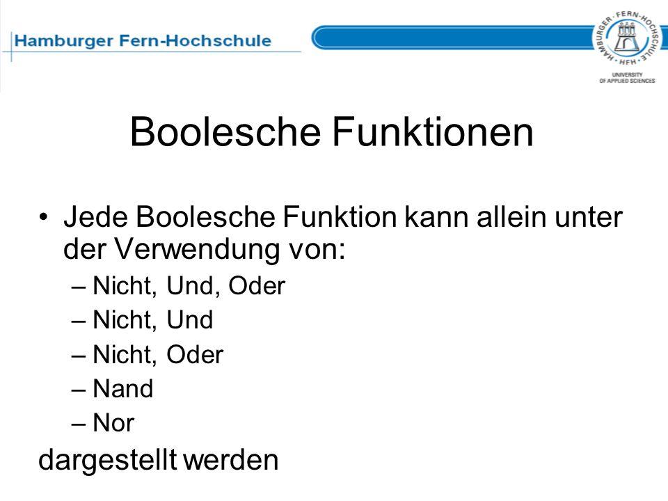Boolesche Funktionen Jede Boolesche Funktion kann allein unter der Verwendung von: –Nicht, Und, Oder –Nicht, Und –Nicht, Oder –Nand –Nor dargestellt w