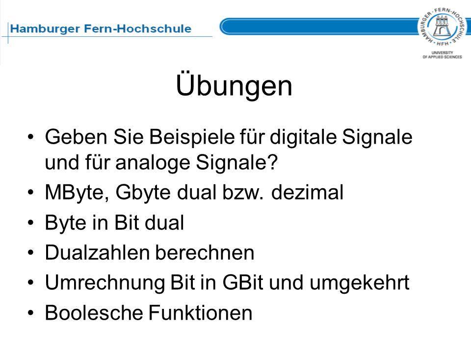Übungen Geben Sie Beispiele für digitale Signale und für analoge Signale? MByte, Gbyte dual bzw. dezimal Byte in Bit dual Dualzahlen berechnen Umrechn