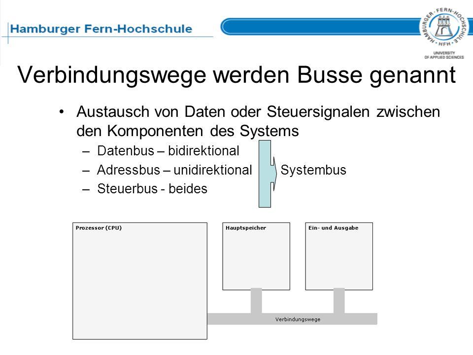 Verbindungswege werden Busse genannt Austausch von Daten oder Steuersignalen zwischen den Komponenten des Systems –Datenbus – bidirektional –Adressbus