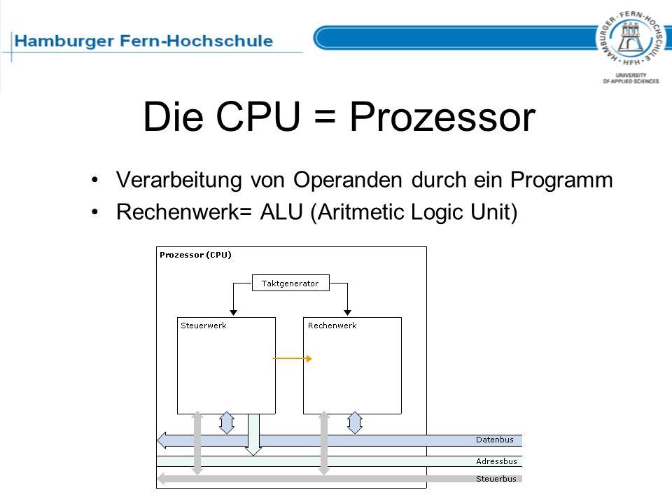 Die CPU = Prozessor Verarbeitung von Operanden durch ein Programm Rechenwerk= ALU (Aritmetic Logic Unit)