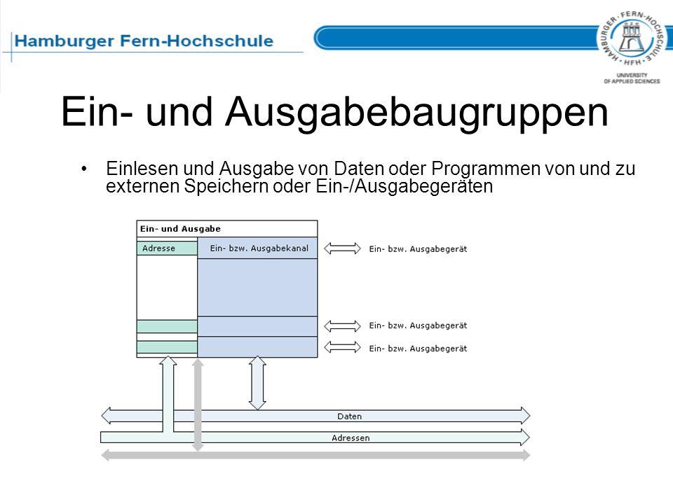 Ein- und Ausgabebaugruppen Einlesen und Ausgabe von Daten oder Programmen von und zu externen Speichern oder Ein-/Ausgabegeräten