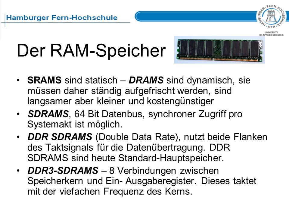 Der RAM-Speicher SRAMS sind statisch – DRAMS sind dynamisch, sie müssen daher ständig aufgefrischt werden, sind langsamer aber kleiner und kostengünst