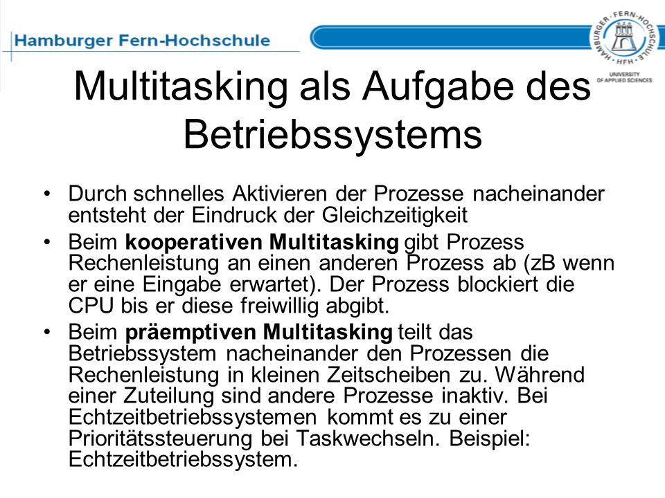 Multitasking als Aufgabe des Betriebssystems Durch schnelles Aktivieren der Prozesse nacheinander entsteht der Eindruck der Gleichzeitigkeit Beim koop
