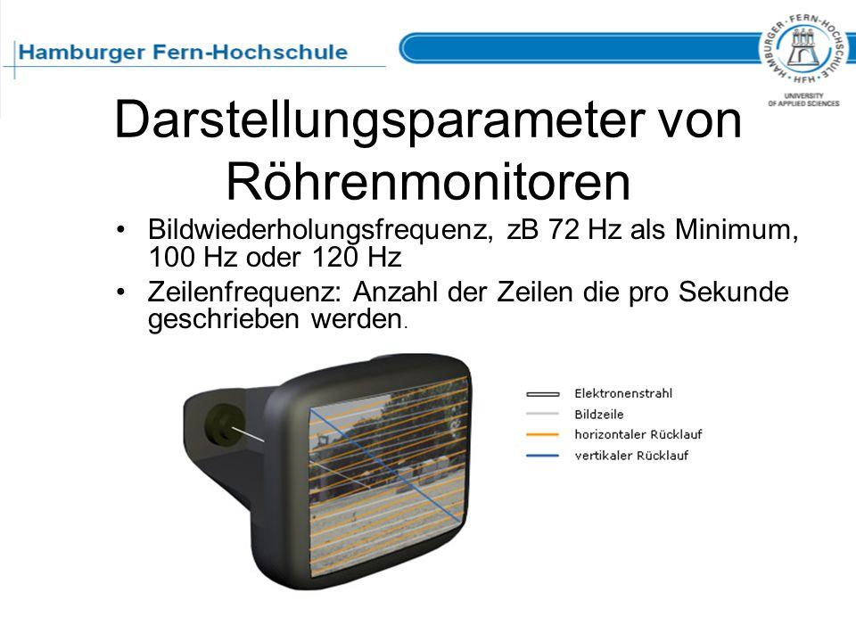 Darstellungsparameter von Röhrenmonitoren Bildwiederholungsfrequenz, zB 72 Hz als Minimum, 100 Hz oder 120 Hz Zeilenfrequenz: Anzahl der Zeilen die pr