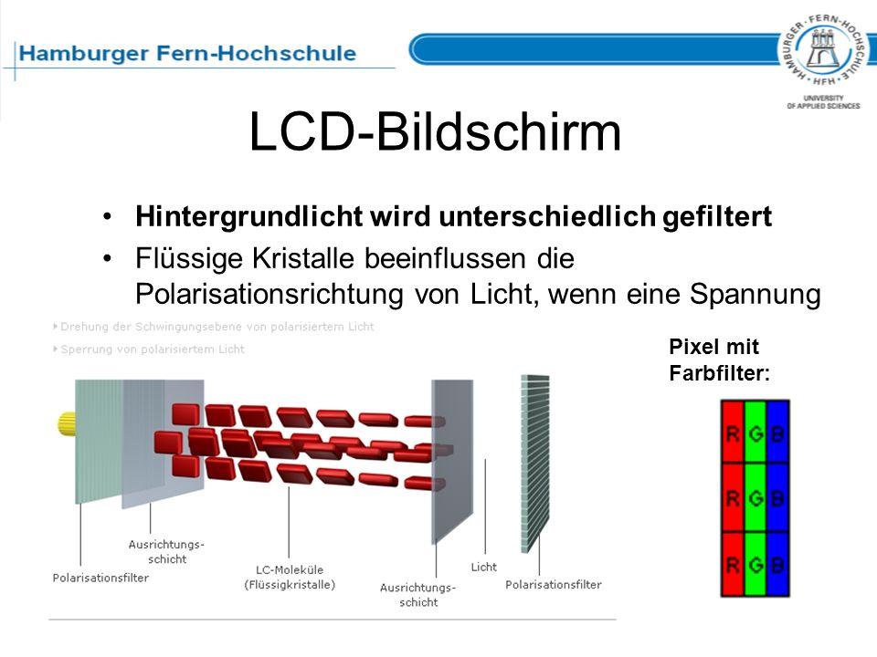 LCD-Bildschirm Hintergrundlicht wird unterschiedlich gefiltert Flüssige Kristalle beeinflussen die Polarisationsrichtung von Licht, wenn eine Spannung