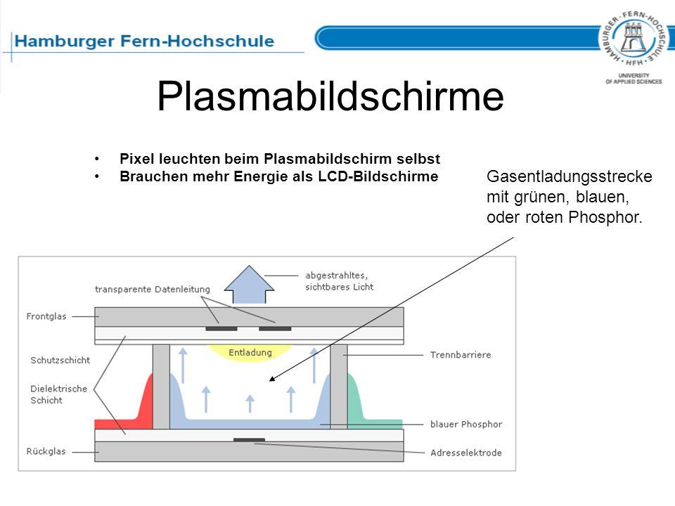 Plasmabildschirme Pixel leuchten beim Plasmabildschirm selbst Brauchen mehr Energie als LCD-Bildschirme Gasentladungsstrecke mit grünen, blauen, oder