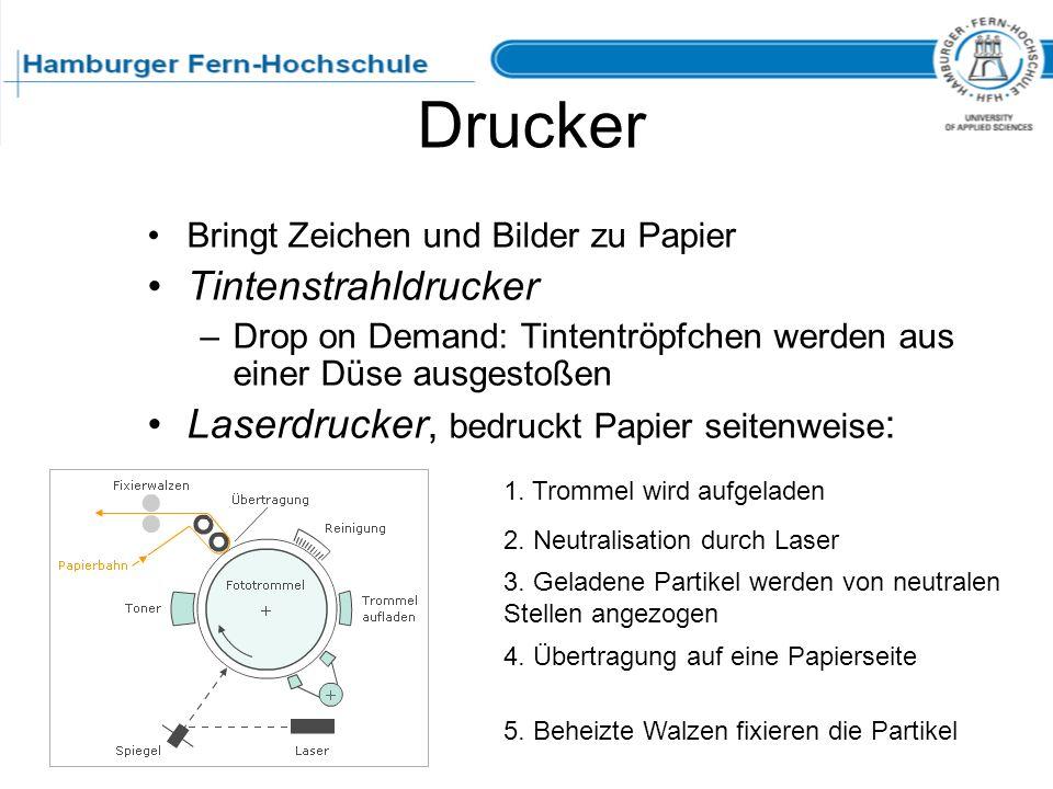 Drucker Bringt Zeichen und Bilder zu Papier Tintenstrahldrucker –Drop on Demand: Tintentröpfchen werden aus einer Düse ausgestoßen Laserdrucker, bedru