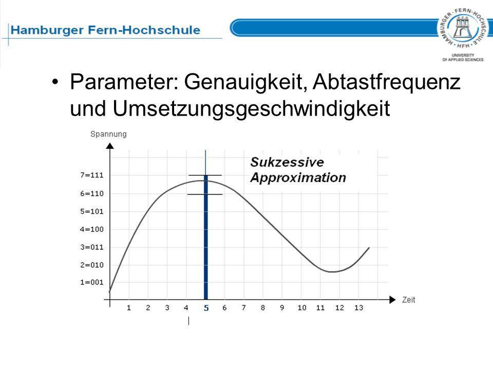 Der Analog-Digital-Umsetzer Parameter: Genauigkeit, Abtastfrequenz und Umsetzungsgeschwindigkeit mit Spannungsvergleich