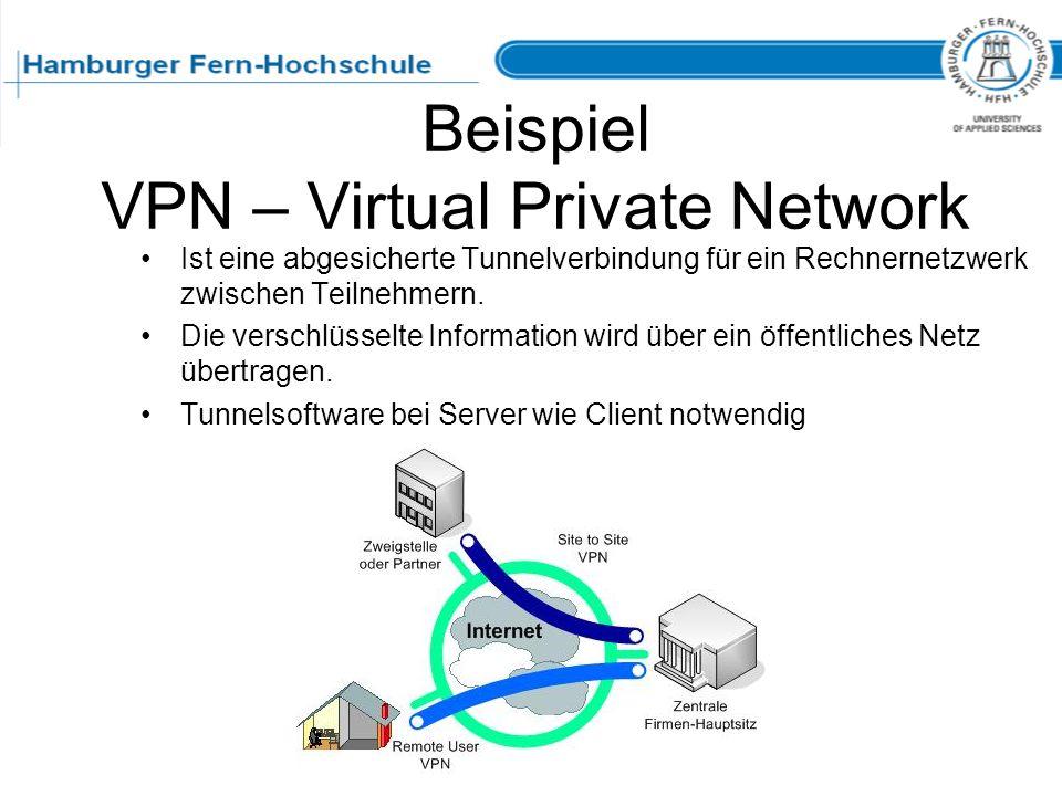Beispiel VPN – Virtual Private Network Ist eine abgesicherte Tunnelverbindung für ein Rechnernetzwerk zwischen Teilnehmern. Die verschlüsselte Informa