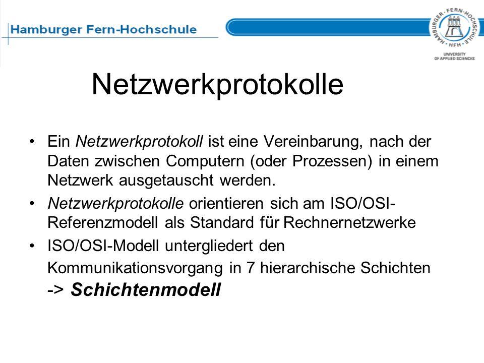 Netzwerkprotokolle Ein Netzwerkprotokoll ist eine Vereinbarung, nach der Daten zwischen Computern (oder Prozessen) in einem Netzwerk ausgetauscht werd