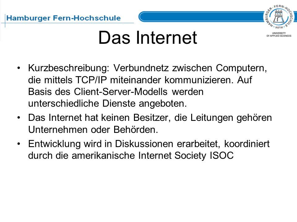 Das Internet Kurzbeschreibung: Verbundnetz zwischen Computern, die mittels TCP/IP miteinander kommunizieren. Auf Basis des Client-Server-Modells werde